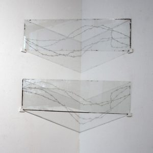 """""""Imperfect Barrier: Corralled"""" glass, oil paint, wood, plastic, spot light each panel 140 x 41 cm installation dimensions variable 2014"""